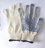 Перчатки х/б, белые, пхв точка, класс 10, манжет с резинкой, трикотажные. Дебальцево