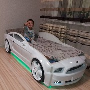 Кровать-машинка 3D с подсветкой фар Донецк