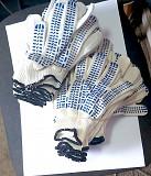 Перчатки хб, пхв покрытие точка, белые, трикотажные, класс вязки-10, с манжетом Горловка