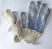 """Перчатки х/б, плотные, белые, ПВХ покрытие, """"Точка"""", 7,5 класс вязки. Макеевка"""