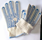 Перчатки хб, белые, с пхв покрытием, Звезда, плотные, класс вязки - 7,5 Донецк