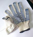 Перчатки, хб, белые, пхв покрытие, точка, класс вязки - 10, манжет с резинкой. Макеевка