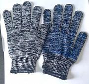 Перчатки рабочие, хб, пхв покрытие, точка, бело-черные, 10 класс, с манжетом Горловка