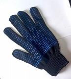 Перчатки хб, черные, с пхв покрытием точка, 10 класс, манжет. Макеевка
