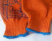 """Перчатки, х/б, оранжевые, с пхв покрытием, """"Звезда"""", кл вязки - 7,5, плотные. Макеевка"""