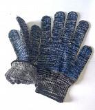Перчатки трикотажные, х/б, пхв точка, класс вязки-10, черно-белые, с манжетом Макеевка