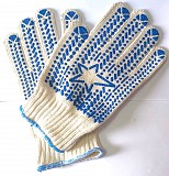 Перчатки трикотажные, хб, белые, с пхв точка, плотные, класс вязки 7,5, манжет Ясиноватая