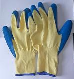Перчатки хб, с латексным натуральным покрытием, 13 класс, манжет, стекольщика, желто-синие. Макеевка