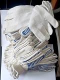 Перчатки трикотажные, хб, белые, 7,5 класс, плотные, с пхв точкой, манжет. Енакиево