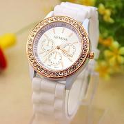 Женские кварцевые часы GENEVA, с кристаллами, цвет белый #248 Донецк