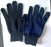 Перчатки, хб, пхв покрытием, 10 класс вязки, черные, манжета с резинкой Макеевка