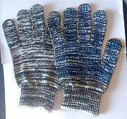 """Перчатки х/б, плотные с ПВХ покрытием, """"Точка"""",10 класс вязки, бело-черные. Макеевка"""